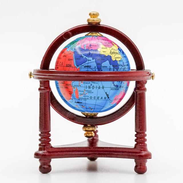 Odoria 1 12 Miniature Vintage Blue World Globe With Wooden Stand Dollhouse Furniture Accessories