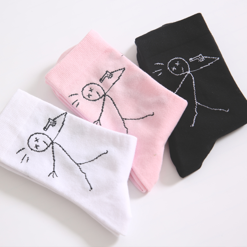 Adult Size Crew Fashion Socks Small Villain Base Person Cartoon BF Comic College Ulzzang Chic Brief Strokes Line Drawing Shoot