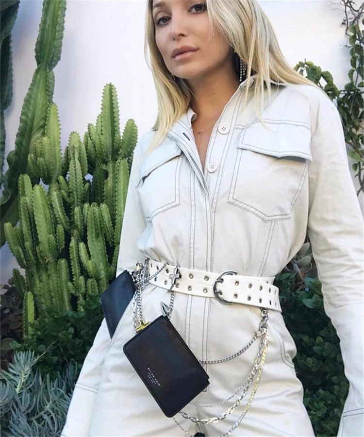 Autumn Personality Denim Jeans Jumpsuit  Rompers women white Tight Sashes Siamese Jumpsuit Women Jumpsuit Long Sleeve Rompers
