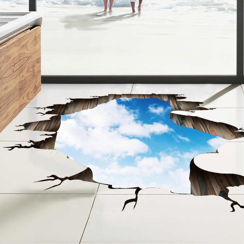 3D Wall Stickers Blue Sky and White Clouds Floor Stickers Bedroom Living Room TV Background Removable Home Decoration Sticker