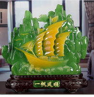 2020 LARGE # HOME Shop hall decoration FENG SHUI Business prosperity Money Drawing Good luck sailing boat crystal jade Sculpture