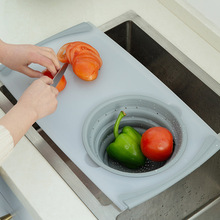 3 in 1 Foldable Multi Function Sink Drain Basket Cutting Board Meat Vegetable Fruit Filter Storage Chopping Blocks