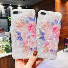 Glitter Shell Case For iPhone 7 8 6 6S Plus X XR 11 Pro Max XS MAX Soft Silicone Flower Bling Dream Pattern Back Cover