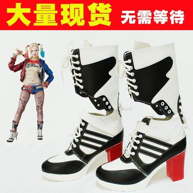 Intihar kadro harley quinn çizmeler bota aksesuarları siyah kadın için harley ayakkabı harley quinn kostüm cosplay İntihar kadro