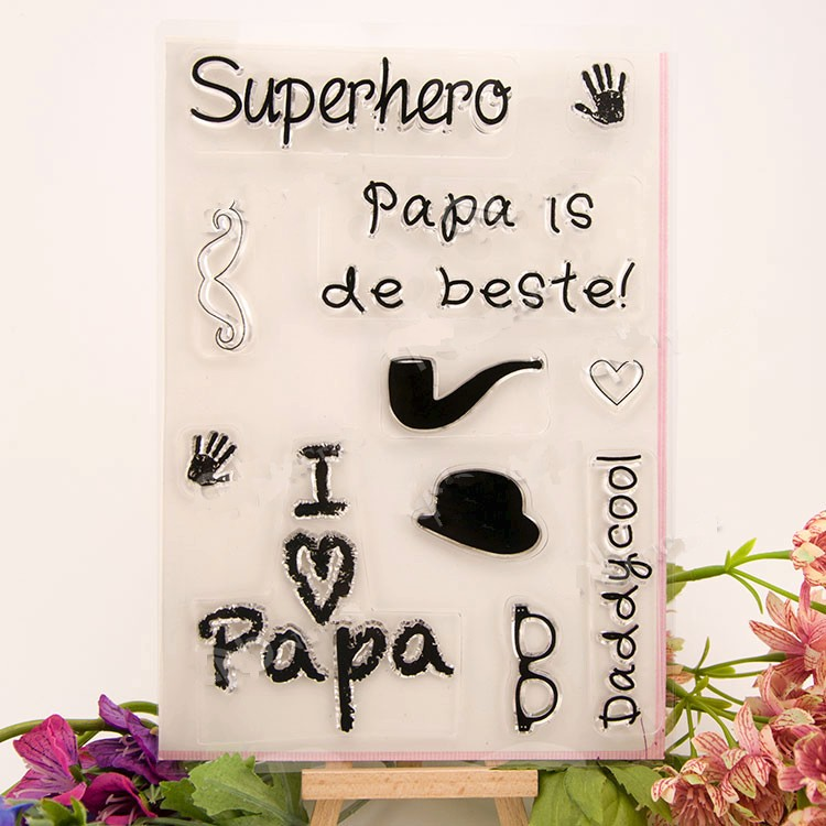 scrapbook DIY i love papa stempel sellos 16x23cm ACRYLIC clear STAMPS FOR PHOTO timbri SCRAPBOOKING stamp carimbo