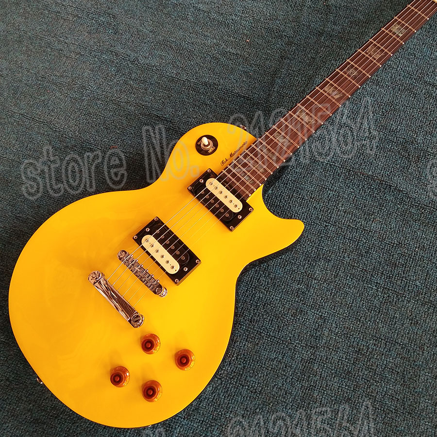 Chinese Custom Electric guitar LP Tak Matsumoto Canary Yellow Mahogany body  Colored shell inlay Musical Instrument Guitarra hot selling chinese black lp custom electric guitar mahogany guitar body