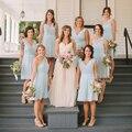 Tanto el Hombro Una Línea de La Rodilla-Longitud Dama de Honor Vestidos de Azul Brillante Corto Barato Prom Vestido Niñas Vestidos Y78665