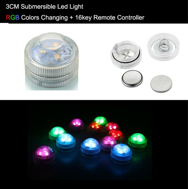 Творческий мини круглый светодиодный бордовый (20 шт./лот) multi-изменение цвета погружные партии ночника пульт дистанционного управления для ...