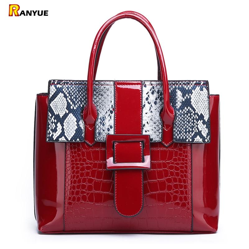 Serpentine+Crocodile Patent Pu Leather Tote Bolsa Mujer Shoulder Bags For Women 2019 Luxury Handbags Women Bags Designer Brand