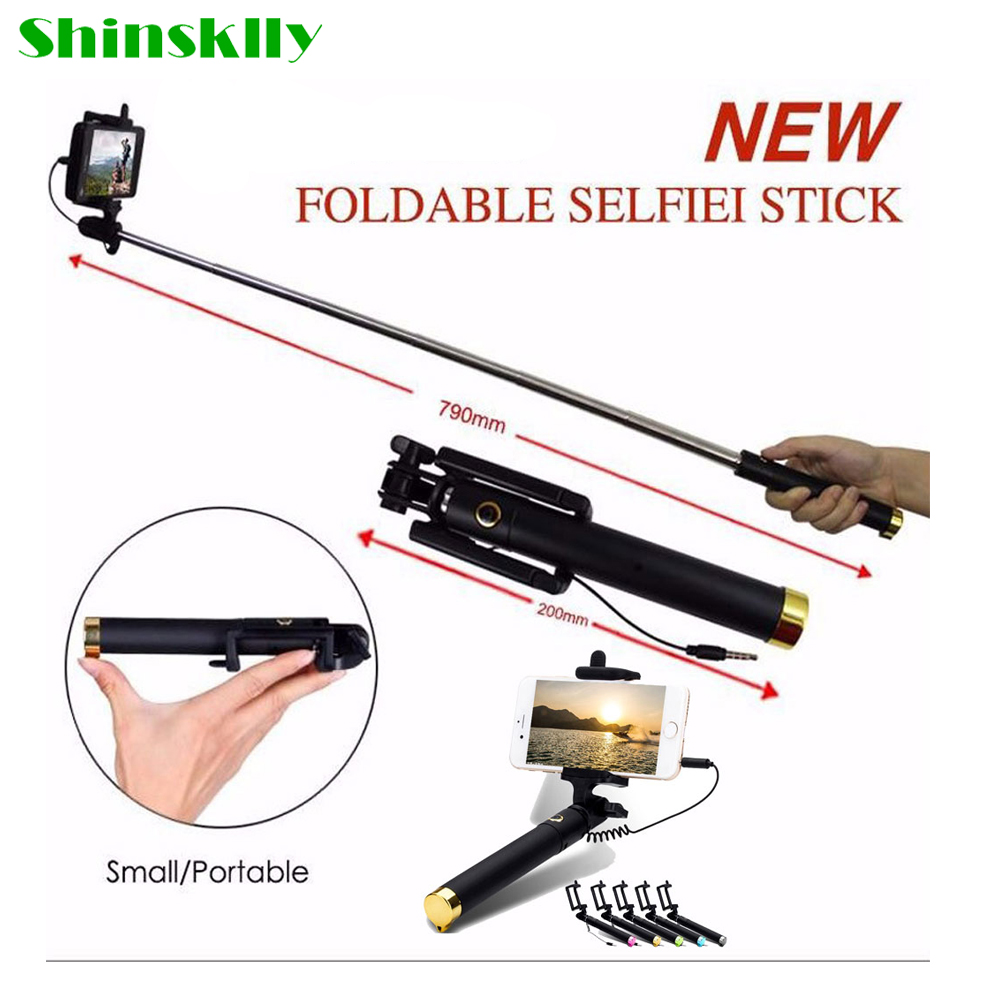 Shinsklly Fashion New Self-wire phone pole Universal Self-folding lever selfie stick For iPhone Samsung oppo Nokia Vivo Xiaomi