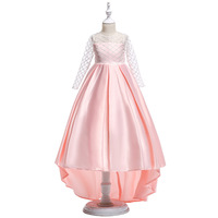 Summer Girl Teen Fashion Clothes for Kids Girl Floral Appliques Long Mesh Sleeve Light Pink Formal Prom Dresses for Juniors