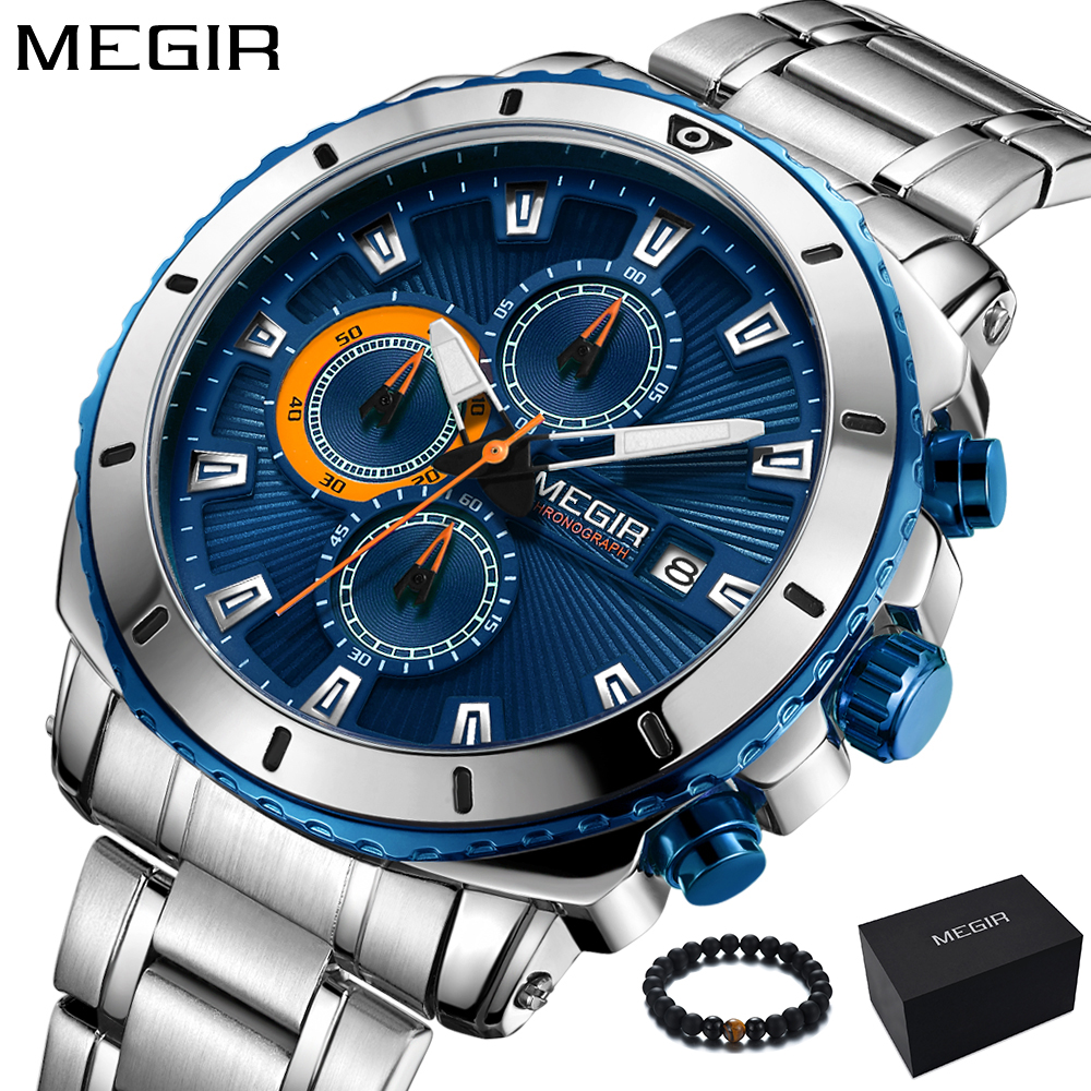 MEGIR Mens Watches Top Brand Luxury Steel Band Watch Men Military Sport Chronograph Quartz Wrist Watch Army Clock Men Blue 2018 megir chronograph sport mens watches top brand luxury leather luminous quartz military watch men clock wrist watch reloj hombre