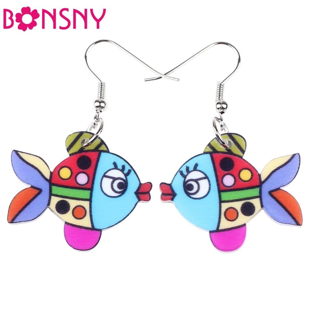Bonsny Drop Gold Fish Earrings Acrylic Long Dangle Earrings For Woman Fashion Jewelry Accessories Cute Animal Design
