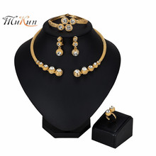 MUKUN 2019 wholesale Exquisite Dubai Jewelry Set Luxury Gold Color Nigerian Wedding African Beads Women stume Design