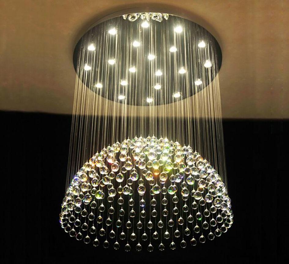 Suspension circulaire en cristal pour salon maison salle à manger lumière lampe hôtel créatif rétro fer lampe E14 LED ampoule