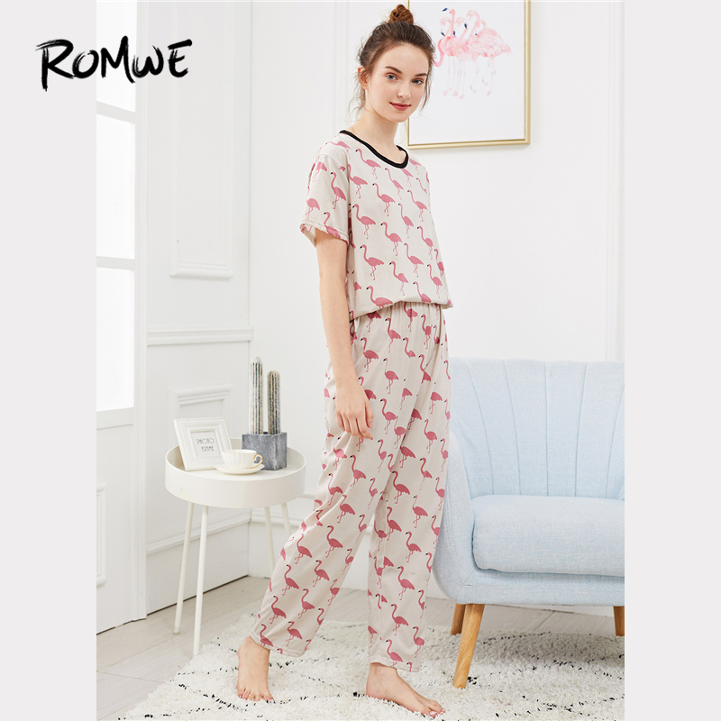 ROMWE   Pajamas   For Women Multicolor Flamingo Print Casual Nightwear Short Sleeve Woman Clothes Summer Sleepwear   Pajama     Set