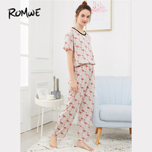 ROMWE Pajamas For Women Multicolor Flamingo Print Casual Nightwear Short Sleeve
