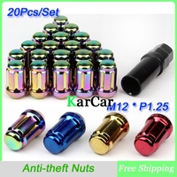 M12 x 1.25 Groove Wheel Nuts Anti theft Alloy Nuts, Car Security Nuts Close End Colorful 20Pcs/Set Free Shipping