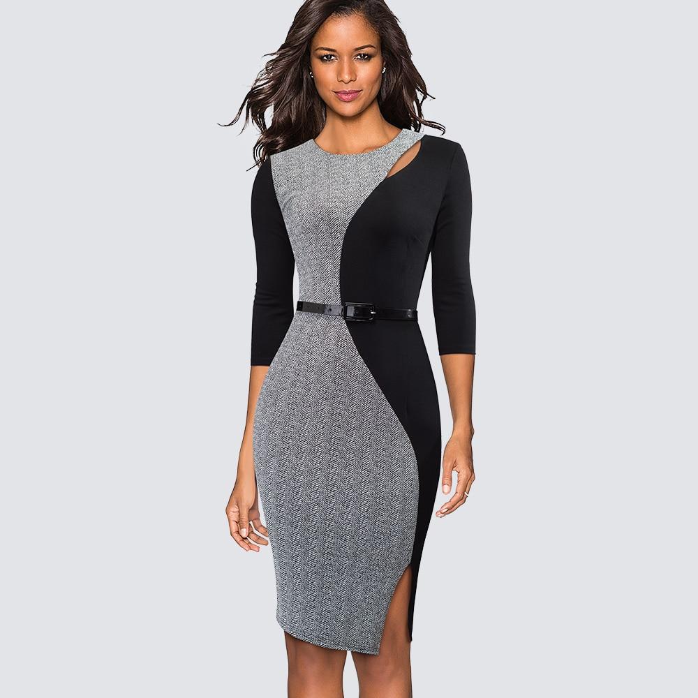 Elegant Contrast Patchwork Ladies Work Office Side Split Dresses Women Formal Bodycon Church Dress Vestidos HB478