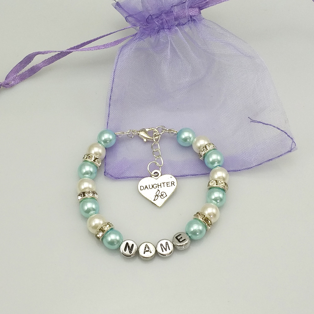 New Name Personalised Girl Baby Birthday Christmas Gift Charm Bracelet Blue  With Bag(china (