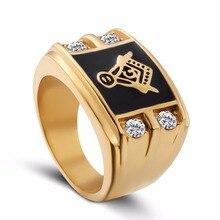 Monla Sliver And gold master masonic ring,free mason signet wedding rings for men,silver gold free mason ring