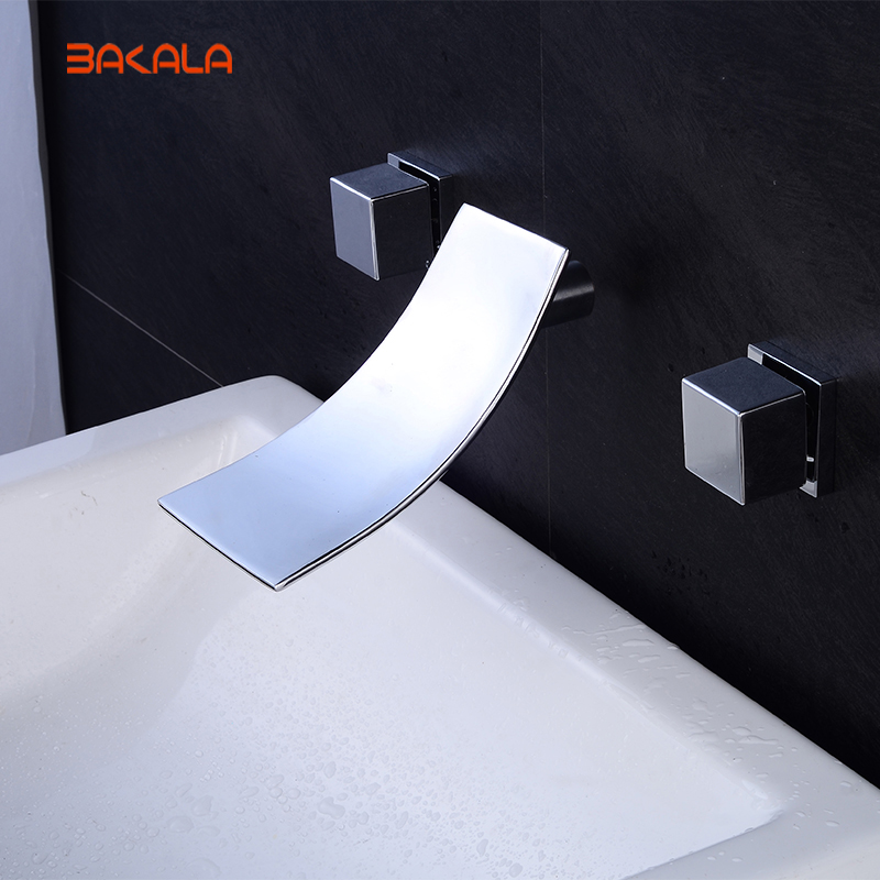 Bakala 3pcs Wall mounted waterfall bathroom basin faucet mixer taps brass chrome finished LT-305 free shipping polished chrome finish new wall mounted waterfall bathroom bathtub handheld shower tap mixer faucet yt 5333