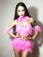Discoteca Cantante Femminile Costume Sexy lana struzzo Diamante Scintillante Diviso set costume Ds ballo vestiti di jazz