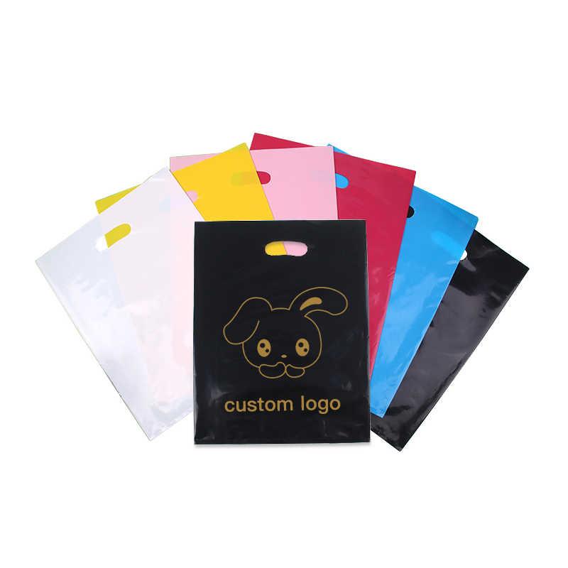 35x45cm 500pcsCustom print plastic bags packaging gift bag for shopping garment handle carrier logo brand designed PE bags