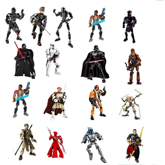 StarWars The Last Jedi Toys Darth Vader General Grievous Boba Fett Chewbacca Luke Skywalk Figure building blocks for children ksz326 star wars rogue one toys jango phasma jyn erso k 2so darth vader general grievous figure toy building blocks toys