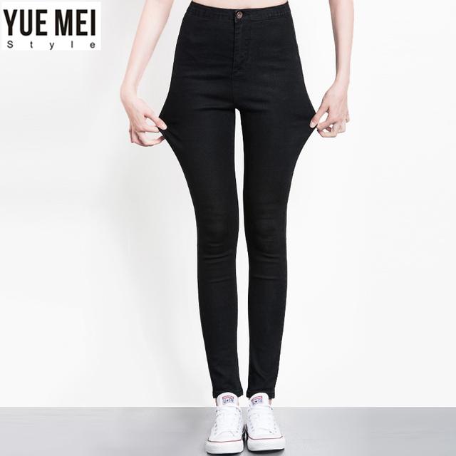 2016 Skinny jeans mulheres Plus Size Jeans Stretch com Lápis de cintura alta jeans para as mulheres denim Calças Calças