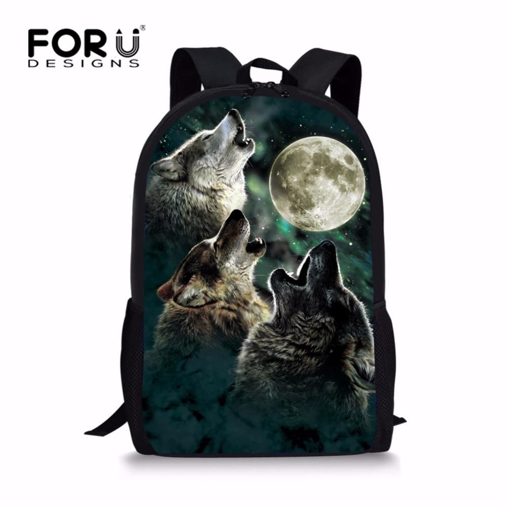 FORUDESIGNS Cool 3D Wolf naprtnjača za školsku djecu Pribor za djecu Kids Dinosaur Bagpack Designer Bookbags Polyester Fabric