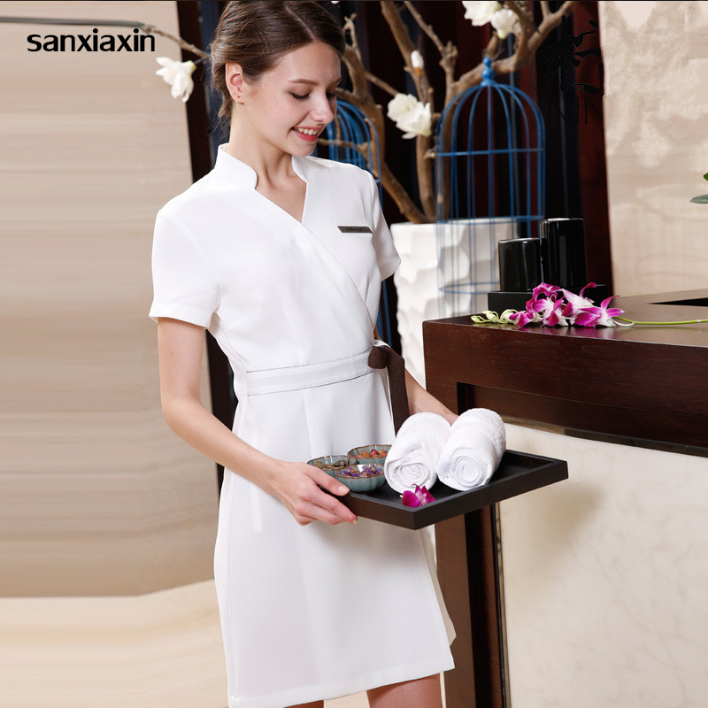 Sanxiaxin Summer Women Spa Beautician Work Clothes Uniform Beauty Salon Surgical Hospital Dress Overalls Slim Fit Medical Gown