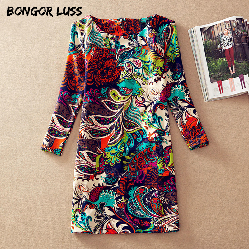 BONGOR LUSS Plus Size Women Clothing Spring Fashion Flower Print Women Dress Ladies Long Sleeve Casual Autumn Dresses Clothing