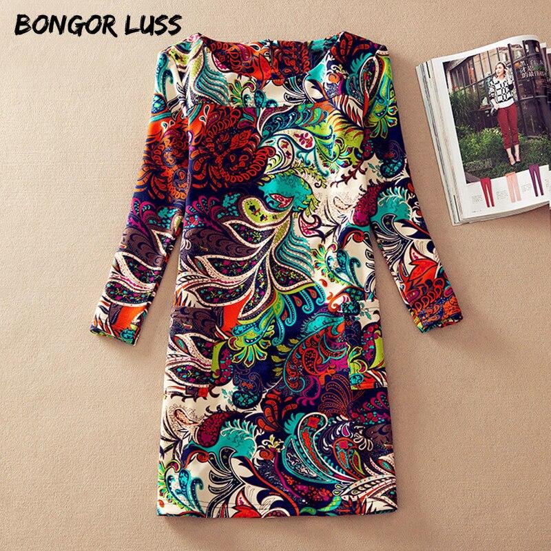 Бонгора лусс плюс Размеры женская одежда Весенняя мода Цветочный принт женское платье дамы с длинным рукавом Повседневное осенние платья Костюмы