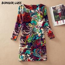 БОНГОР ЛАСС Плюс Размер Женская Одежда Мода Весна Цветочный Печати Женщины Dress Дамы С Длинным Рукавом Повседневный Осень Платья Vestidos(China (Mainland))