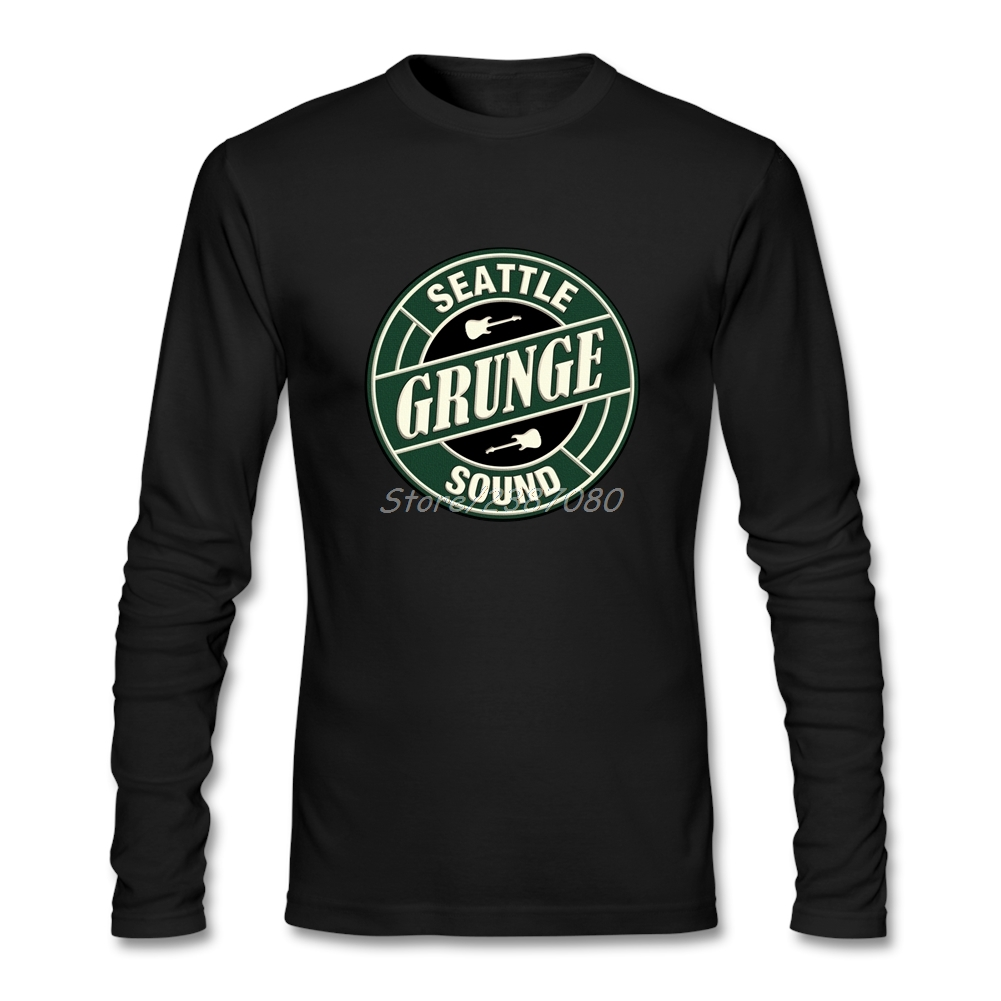 Hipster Grunge Seattle Sound T Shirt Couple Tshirt Men Cotton Long Sleeve Custom Tees Shirts Homme