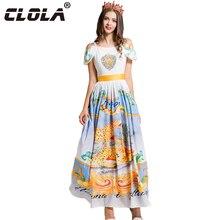 CLOLA Summer Women Maxi Dress 2017 New O-neck Strapless Print Long Dresses Casual Lady Party Vestidos Diamonds Pleated