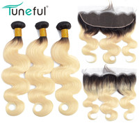 1B 613 Bundles with Frontal Brazilian Body Wave Remy Human Hair Extensions Dark Roots Russian Honey Blonde Bundles With Frontal