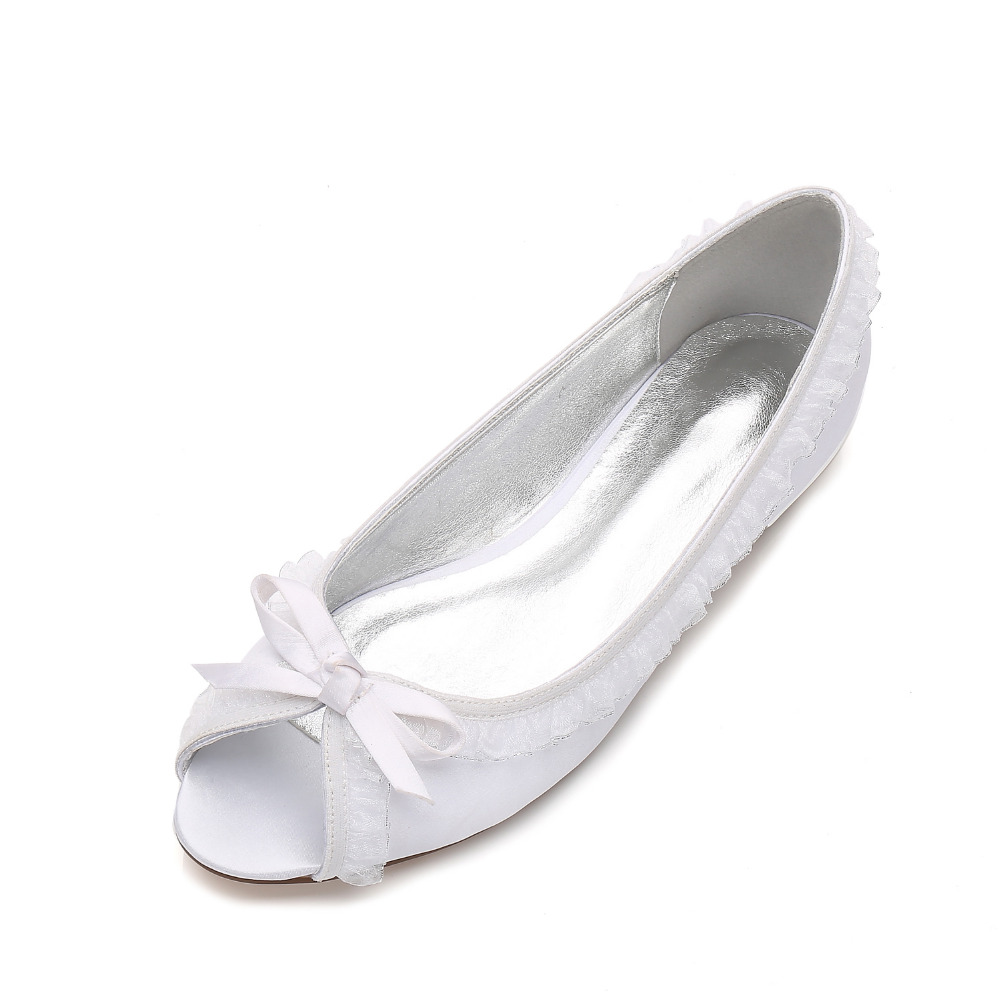 Creativesugar Open toe lady satin dress flats shoes with ruffles and tie sweet elegant bridal wedding party prom cocktail shoes round toe satin white wedding shoes rose bridal dress shoes party prom dress shoes for ladies