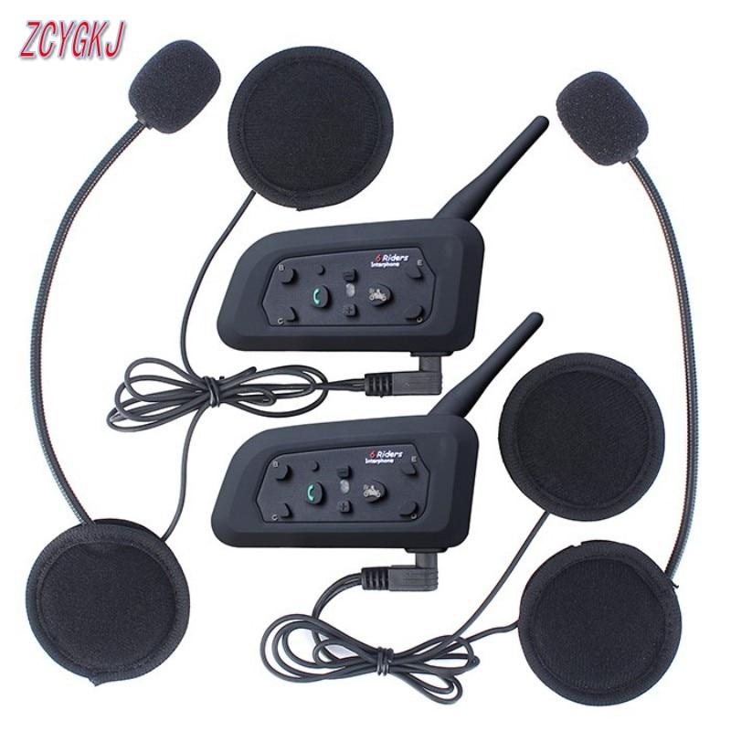 Nuovo V6 Casco Interfono 6 Riders 1200M Moto Intercom Bluetooth Cuffie Walkie Talkie Casco BT Interphone Plug