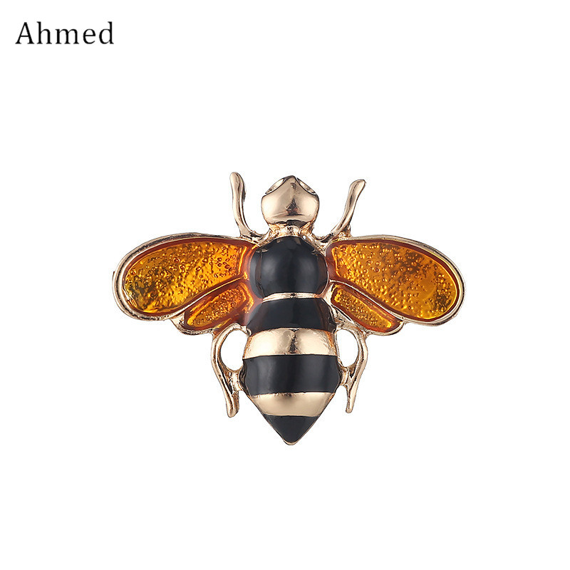 Ahmed Fashion Drop Glaze Cute Bees Brooches For Women Kids New Design Scarf Suit Buckle Charm Sweater Corsage For Gifts