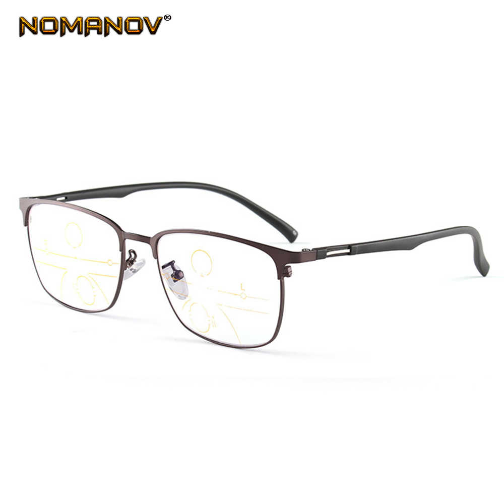 Full-rim Large Frame See Far and Near Progressive Multifocal Anti-blue Light Reading Glasses +0.75 +1.25 +1.5 +2 +1.75 TO +4