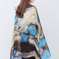 [AETRENDS] 2016 Brand Scarves Colorful Butterfly Print Silk Scarf Women Shawl Pashmina Z-2904