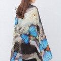[AETRENDS] 2016 Mujeres Bufanda de Seda Del Mantón de Pashmina Bufandas de la Marca Colorful Butterfly Print Z-2904
