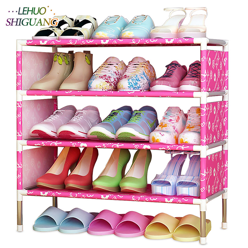 Shoes shelf Easy Assembled Non-woven 4 Tier Shoe Rack Shelf Storage Organizer Stand Holder Keep Room Neat Door Space Saving shoe rack easy assembled plastic multiple layers shoes shelf storage organizer stand holder keep room neat door space saving