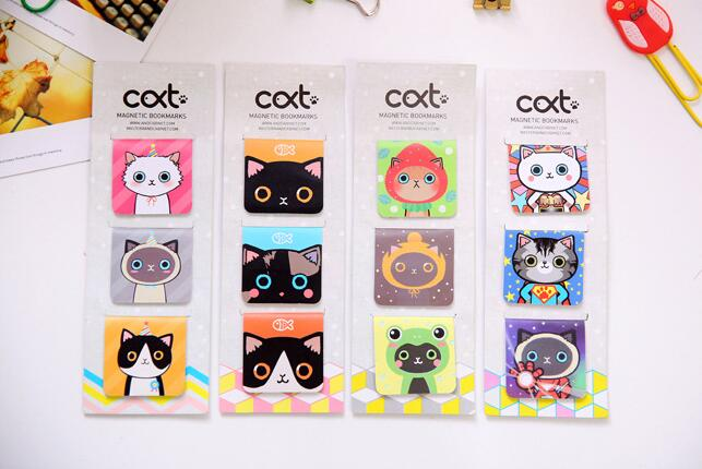 3PCS/pack New  Cats Designs Magnet Bookmarks Magnetic Page Holder Materials School Supplies