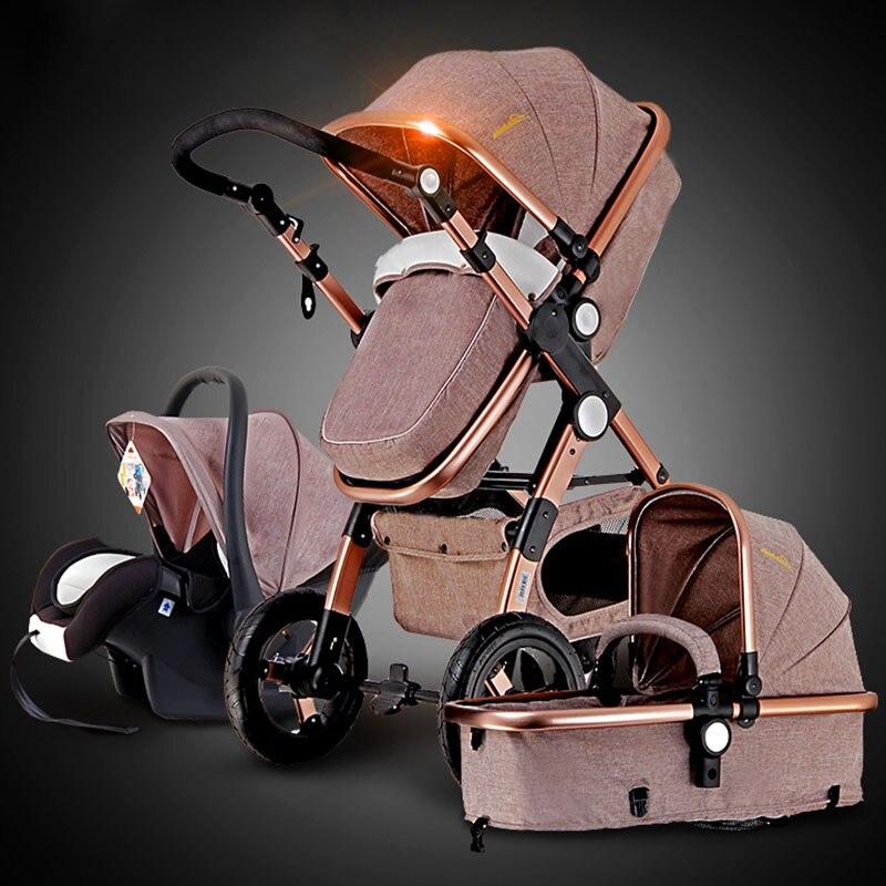 Cochecito de bebé dorado 3 en 1 2 en 1 amortiguador y marco de protección del cerebro resistente a la corrosión entrega RU para una calidad gratuita