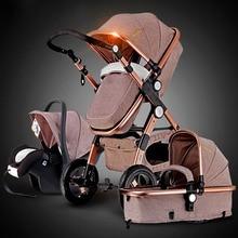 Золотая детская коляска 3 в 1 2 в 1 амортизатор и защита мозга рамка устойчивая к коррозии RU Доставка бесплатно качество