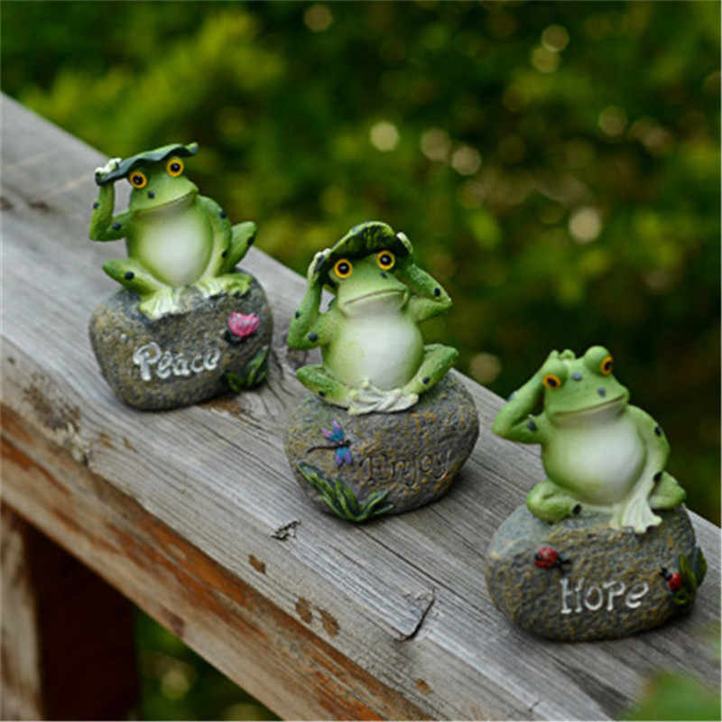 1pc Home Garden Ornament Outdoor Resin Frog Family Animal Figurine Welcome Art Yard Decoration
