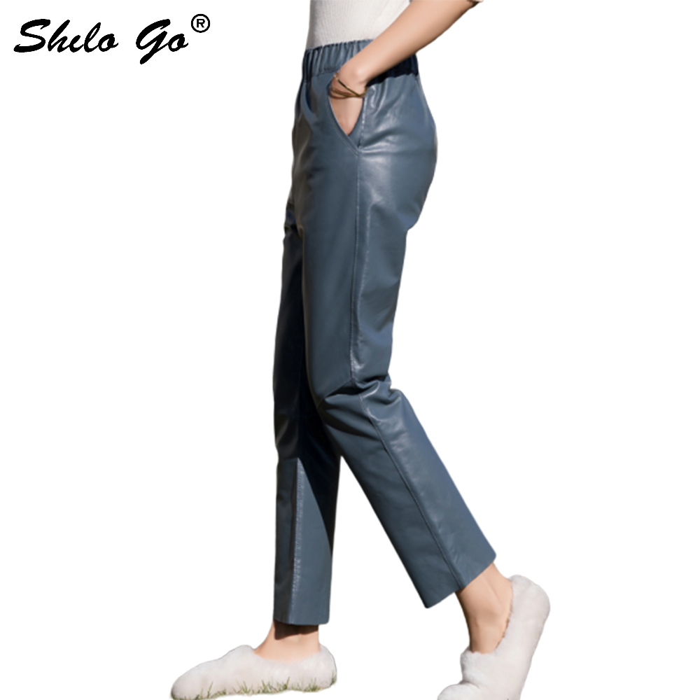 Streetwear Leather   Pants   Women Spring Casual High Waist Sheepskin Genuine Leather   Pants   Concise Loose Side Pocket Female   Capris